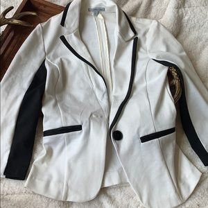 Fitted White + Black Blazer Jacket XS Extra Small